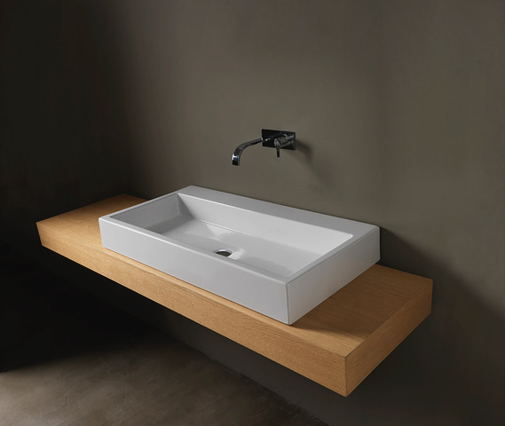 lay-on or wall mounted washbasin white ceramic nic design cool