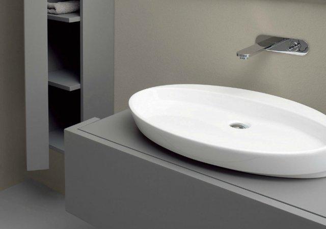 lavabo à poser blanc coloré nic design slim
