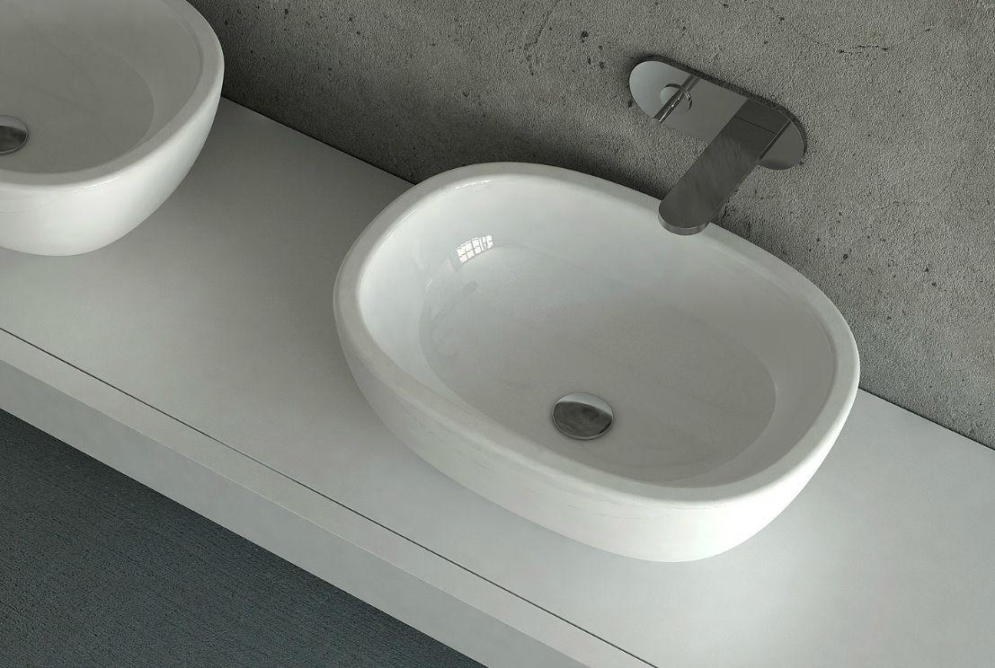 lavabo da appoggio ceramica nic design milk bianco