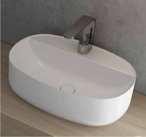 lay-on washbasin ceramic nic design semplice with tap hole