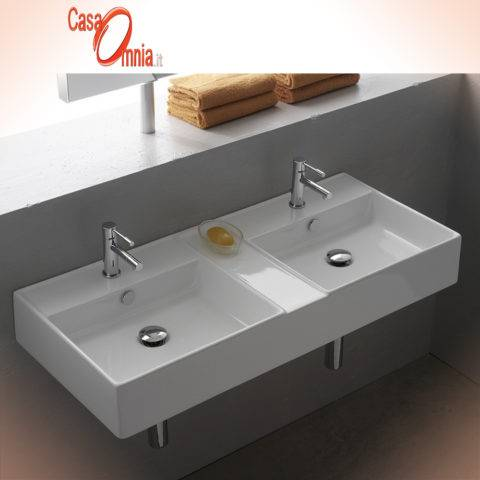 LAY-ON OR WALL-MOUNTED WASHBASIN WITH TWO SEPARATE TANKS - SCARABEO TEOREMA 105 R