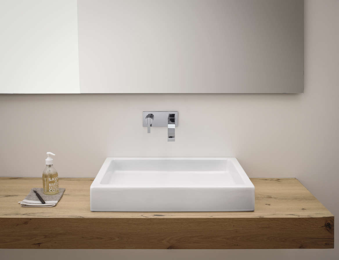lay-on or wall-mounted washbasin nic design canale white