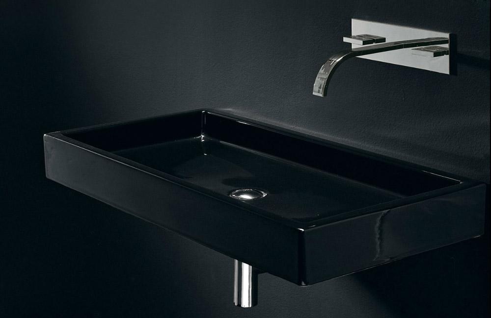 lavabo da appoggio o sospeso nic design canale nero