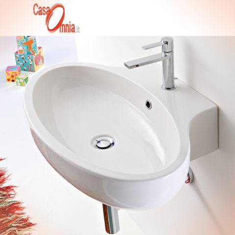 LAY-ON OR WALL-MOUNTED WASHBASIN - SCARABEO SERIE PLANET 67 x 47
