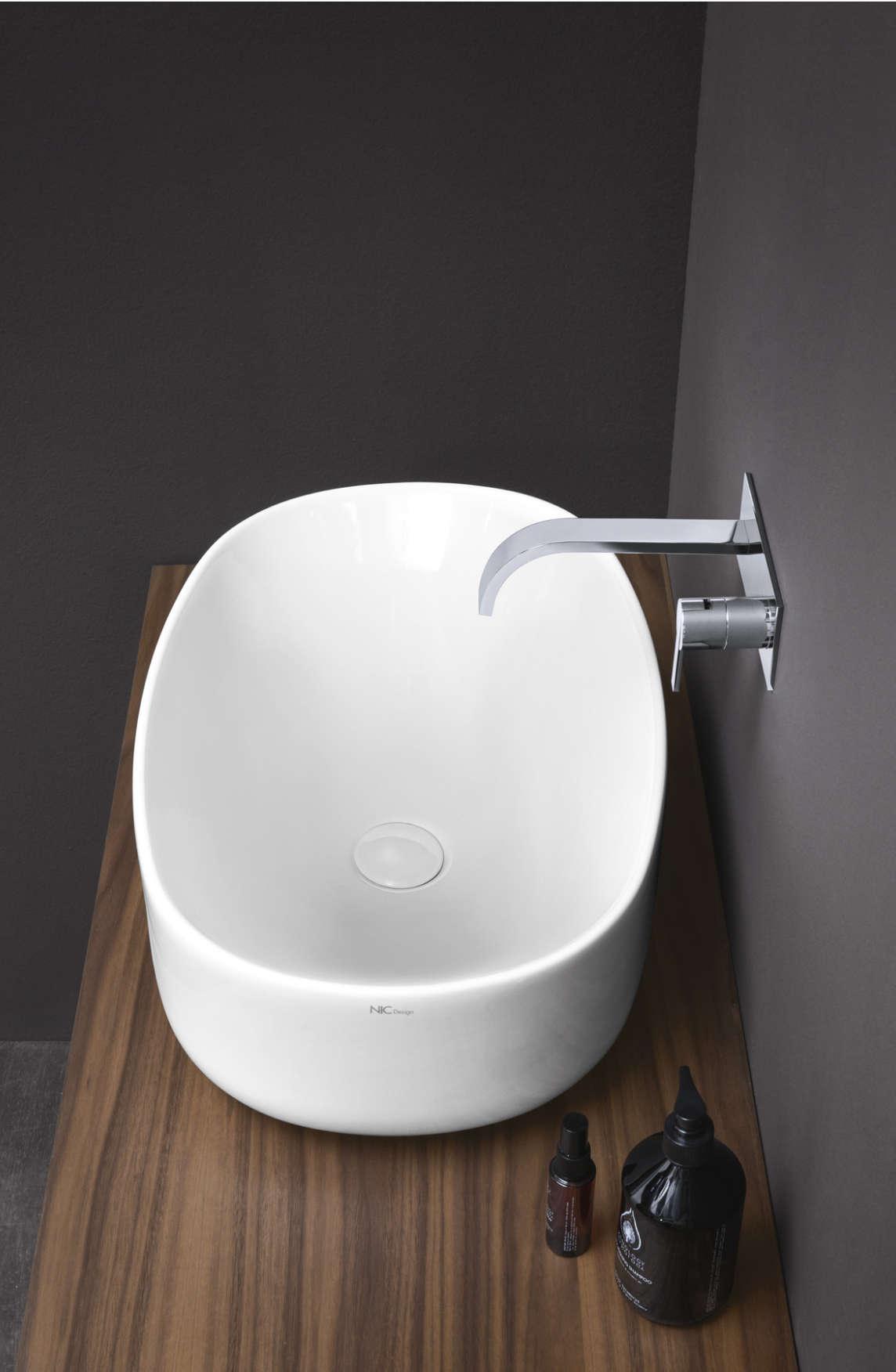 lavabo da appoggio semplice nic design bianco