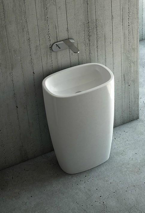 lavabo au sol en céramique blanc nic milk free standing
