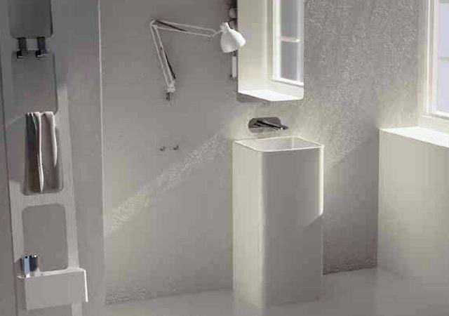 lavabo au sol nic design semplice free standing blanc céramique