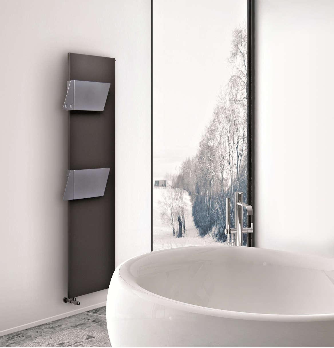 plate heated towel rail white colored brem romè 2019