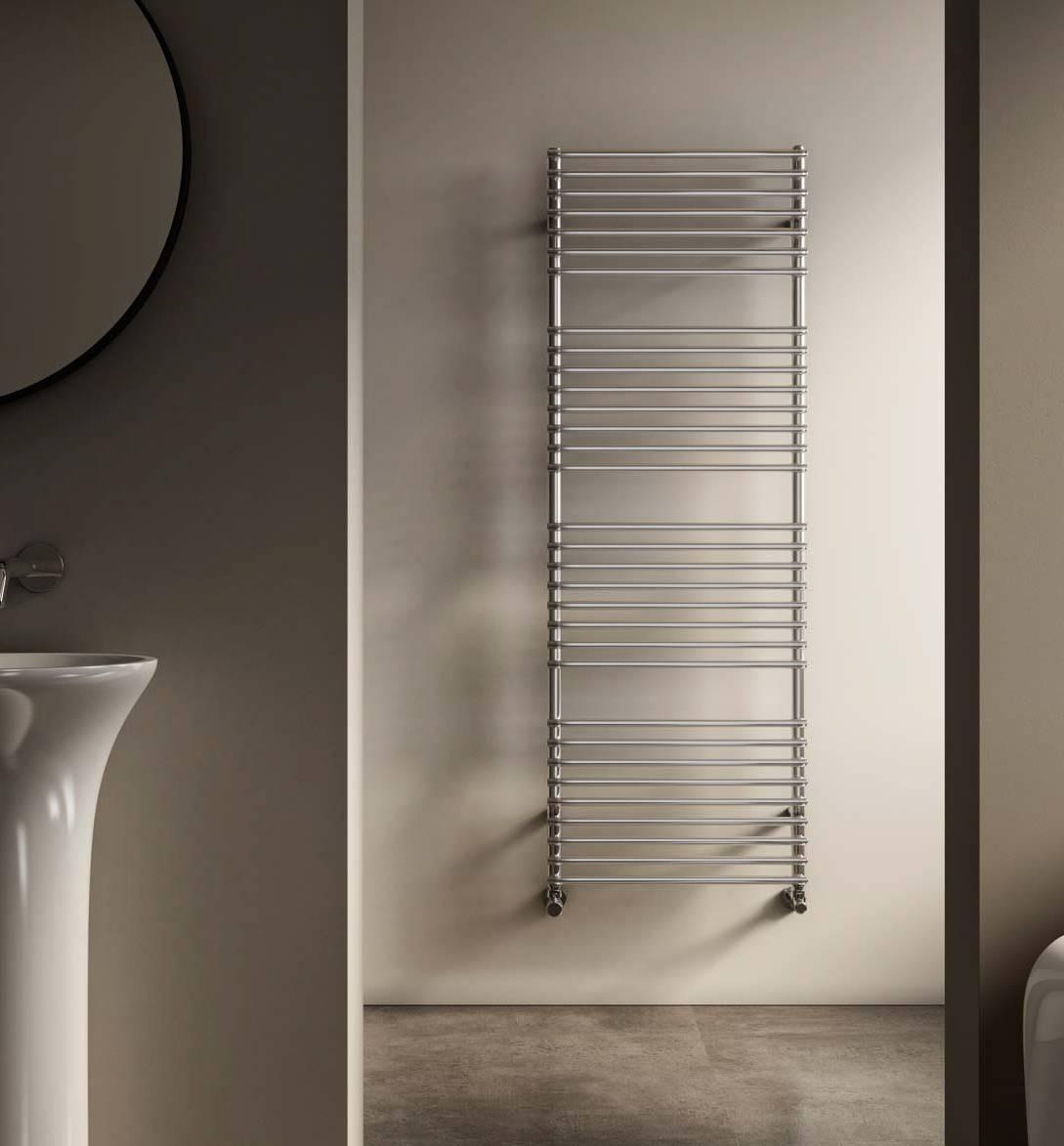 Heated towel rail-bathroom-Leila-Cordivari-inox-Polished