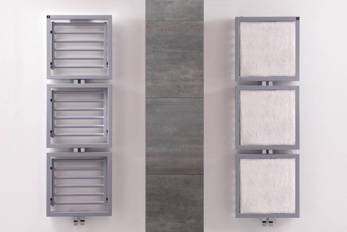 heated Towel rail DELTACALOR TRIS opened and closed