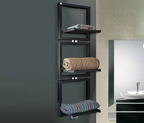 TRIS deltacalor heated towel rail with open towels