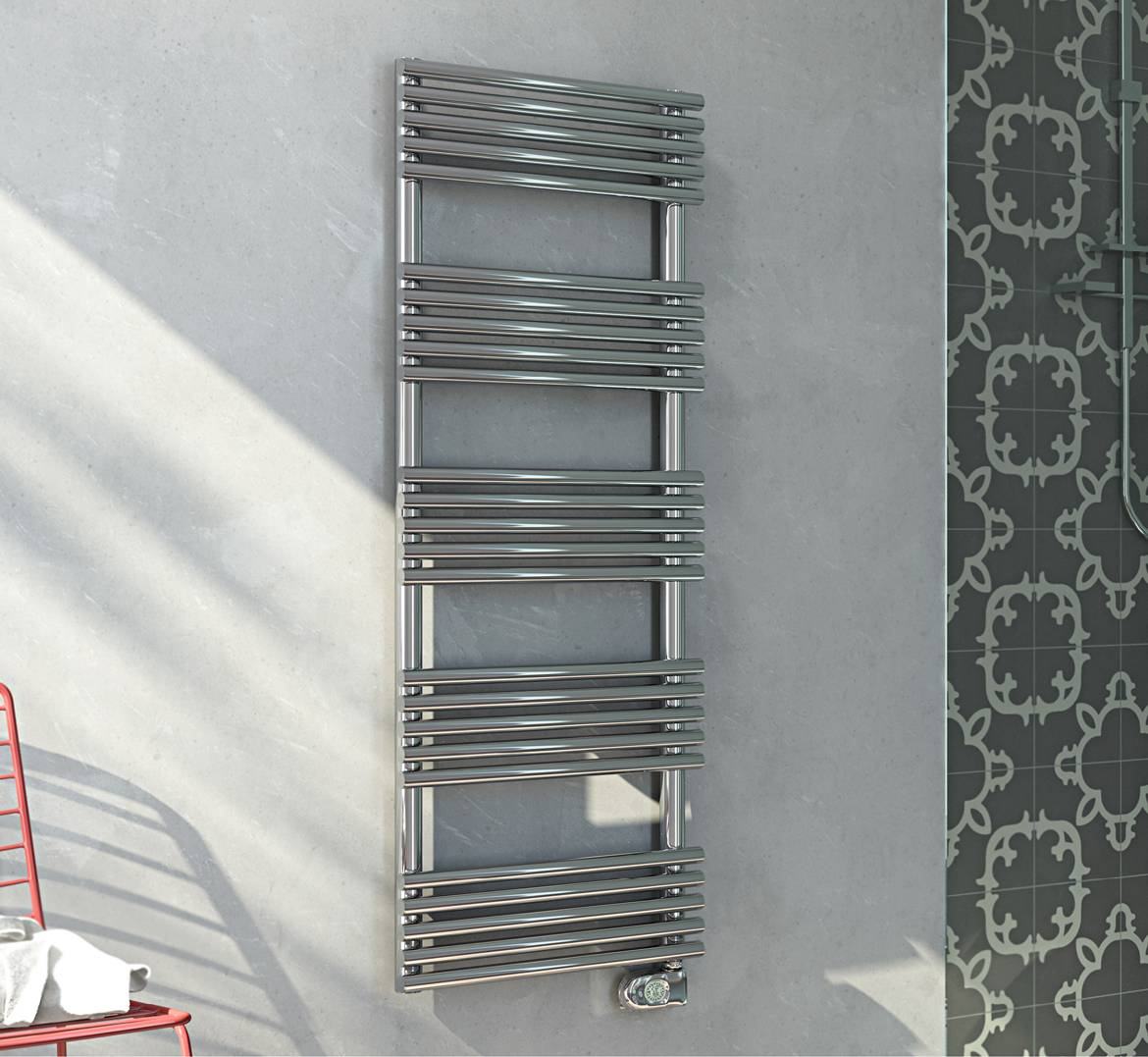 Towel warmer-electric-in-steel-stainless-polished-with-thermostat-digital-SANDY