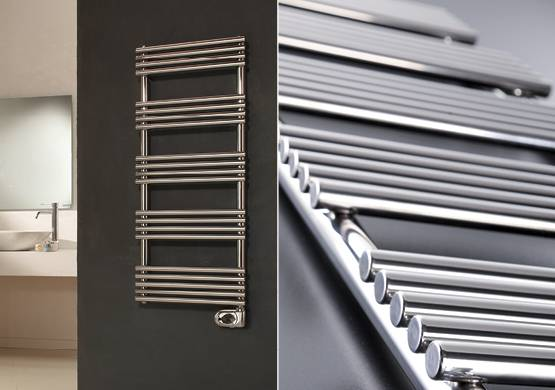 scaldasalviette elettrico in acciaio inox lucido con termostato digitale