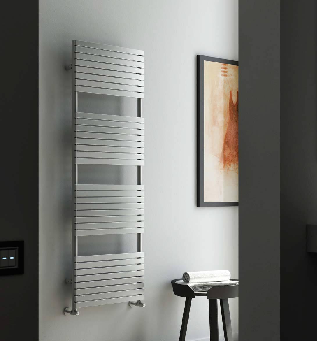 Towel raditor-Heated towel rail-bathroom-stefania-in-stainless-inox-Satin-Cordivari