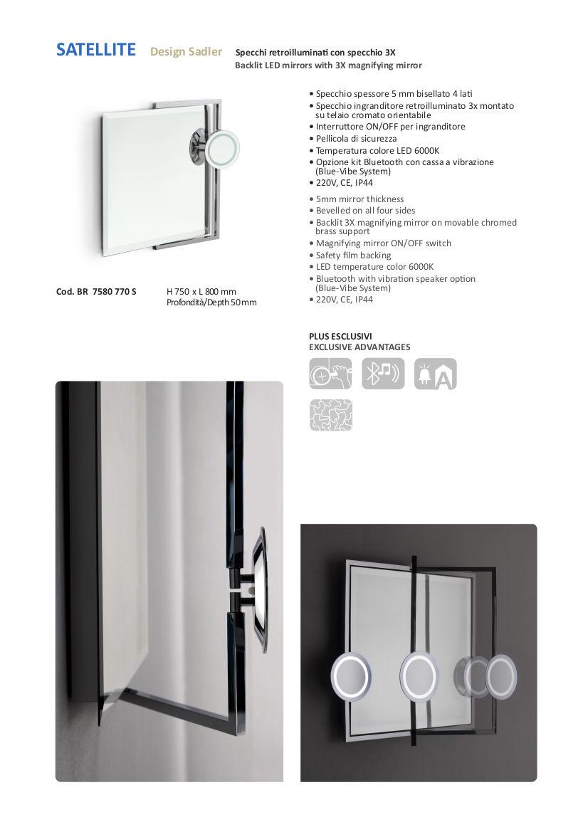 Technisches Datenblatt badezimmerspiegel led Vergrößerungsapparat 3x vanità e casa satellite