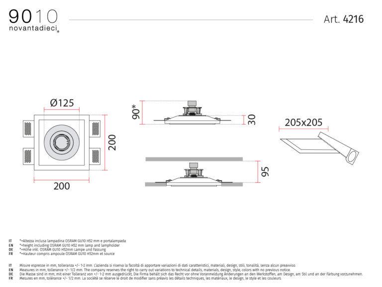 scheda tecnica faretto da incasso 4216 basic collection 9010
