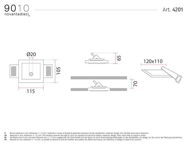 scheda tecnica faretto segnapasso 4201 passi collection 9010 belfiore