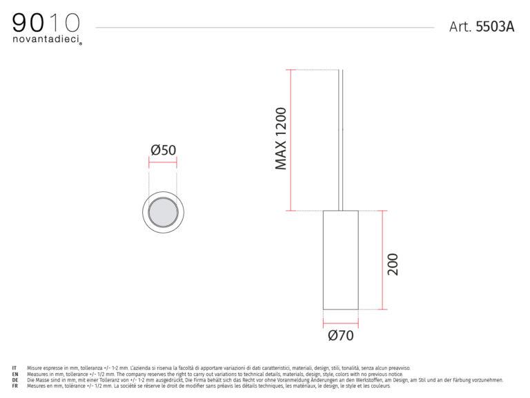scheda tecnica lampada sospensione 5503A sospensioni 9010