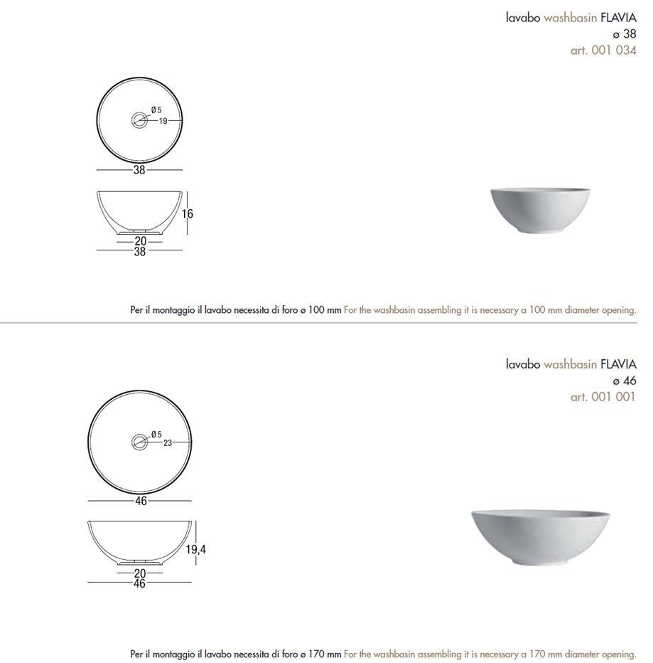 fiche technique lavabo à poser nic design flavia