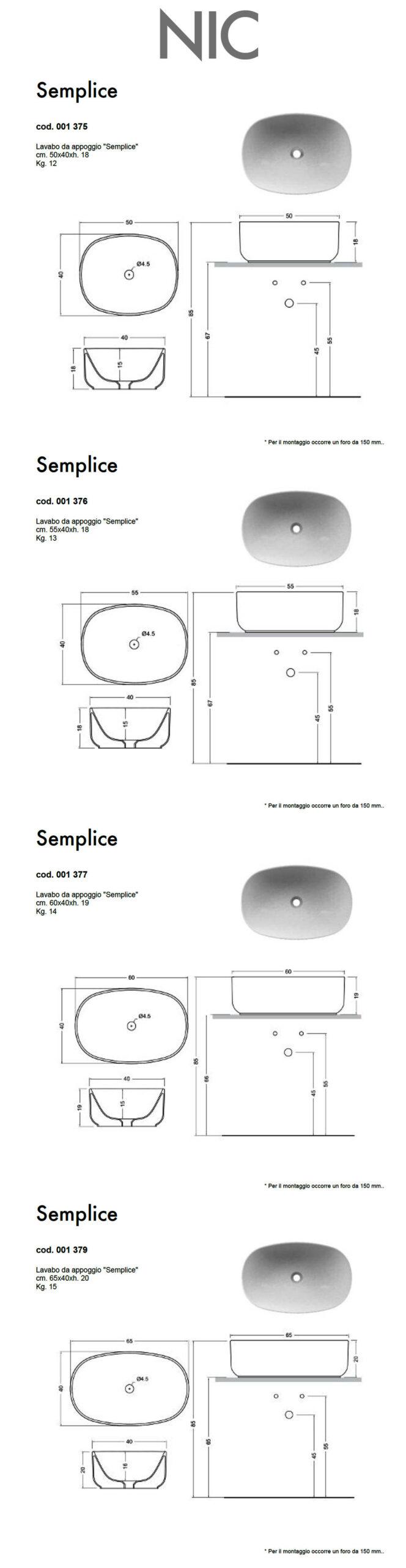 scheda tecnica lavabo da appoggio nic design semplice