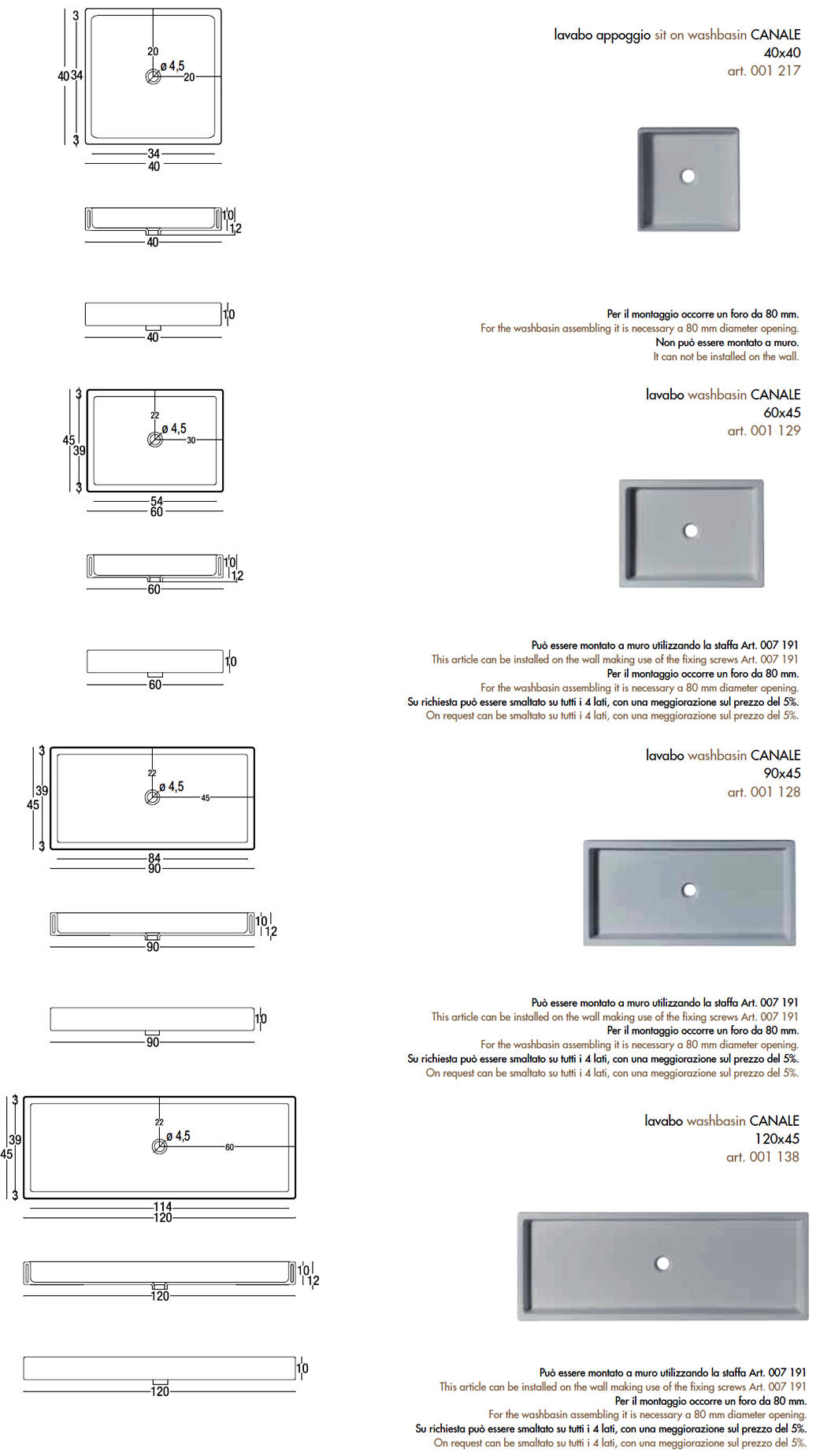 scheda tecnica lavabo da appoggio o sospeso nic design canale