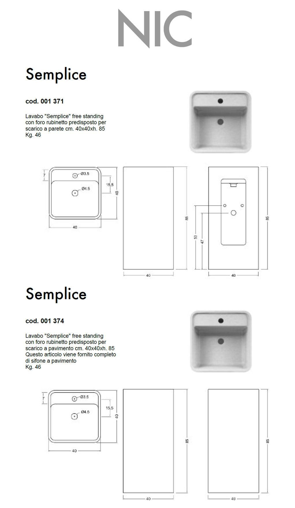 scheda tecnica lavabo da terra nic design semplice con foro freestanding