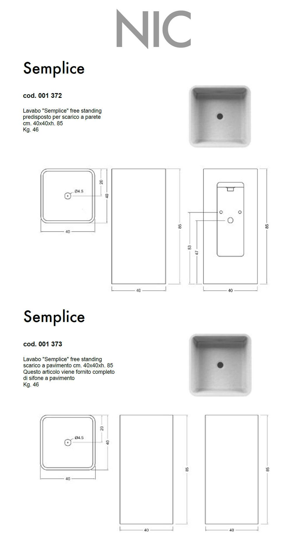 fiche technique lavabo au sol nic design semplice free standing