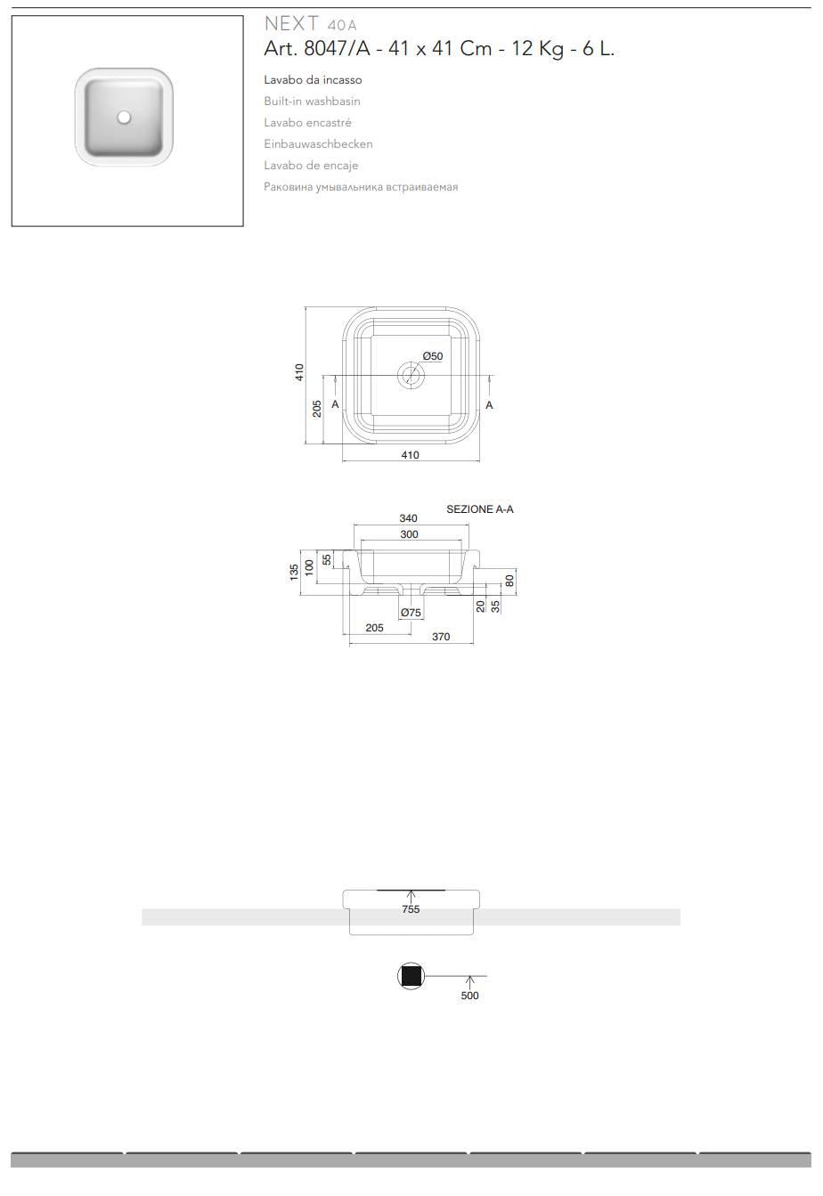 fiche technique-LAVABO-ENCASTRÉ-scarabeo-next-40a