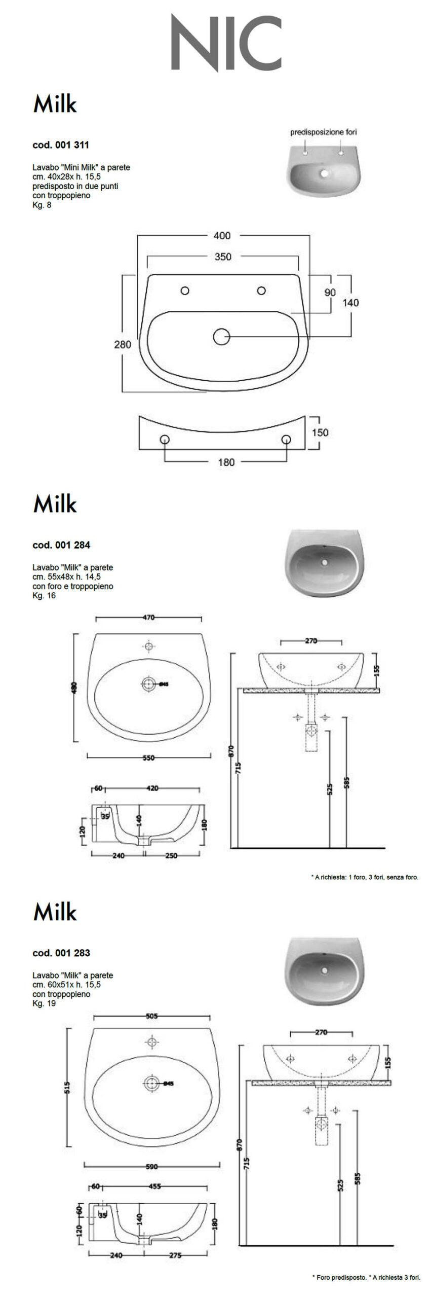 fiche technique lavabo suspendu nic design milk