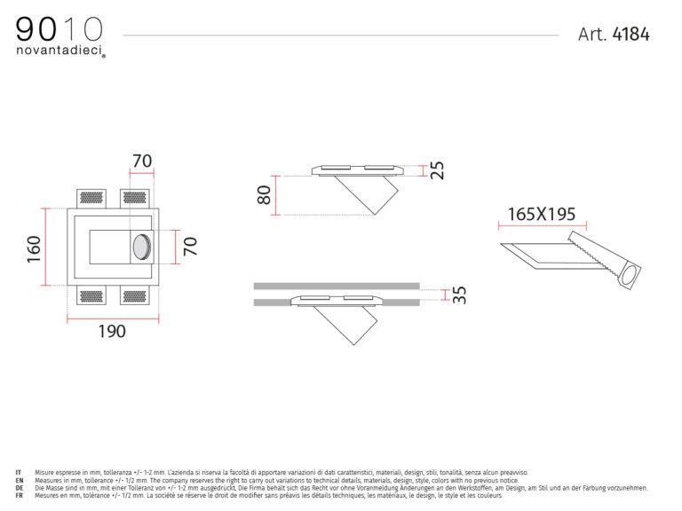 scheda tecnica plafoniera da incasso 4181 forme collection 9010
