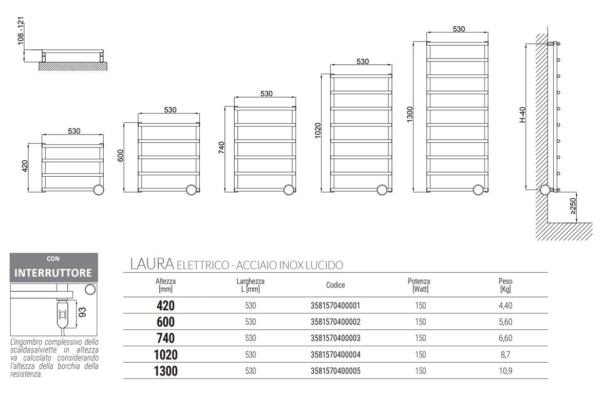 Sheet-Technical-Heated towel rail-laura-electric-stainless-polished-Cordivari