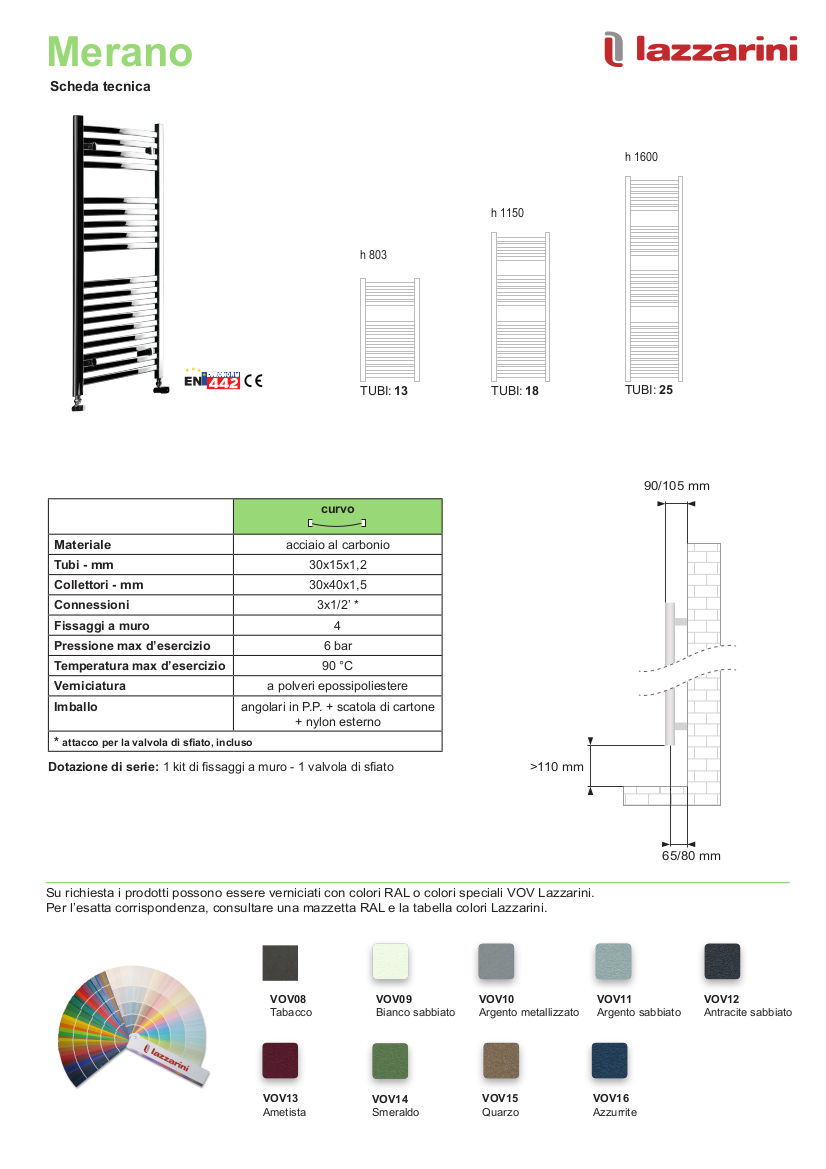 data sheet heated towel rail lazzarini merano
