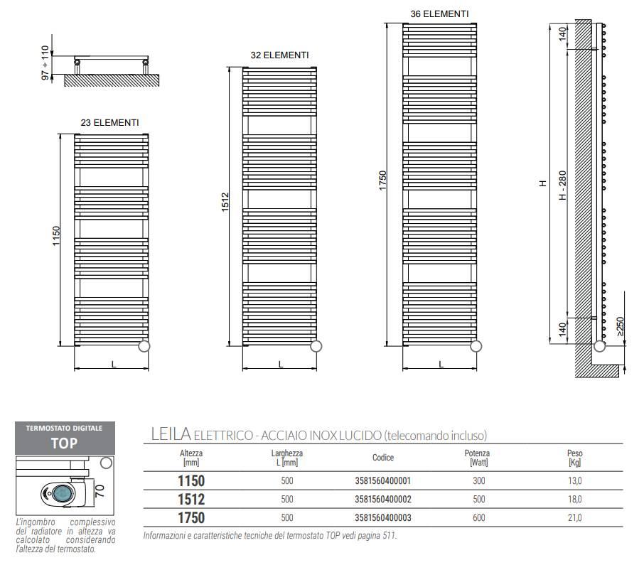 Sheet-Technical-Heated towel rail-Leila-electric-inox-polished-Cordivari