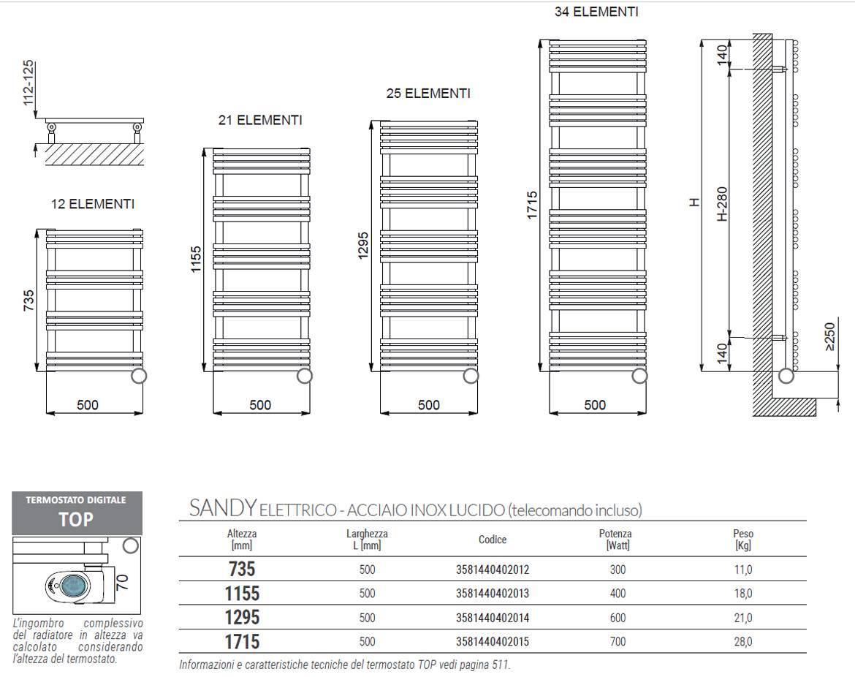 Datasheet-Technical-towel warmers-Sandy-inox-polished-Cordivari