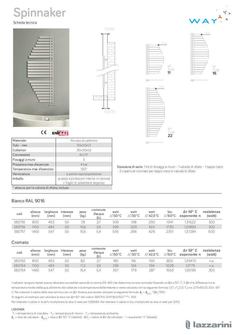 Technisches Datenblatt Handtuchwärmer spinnaker lazzarini