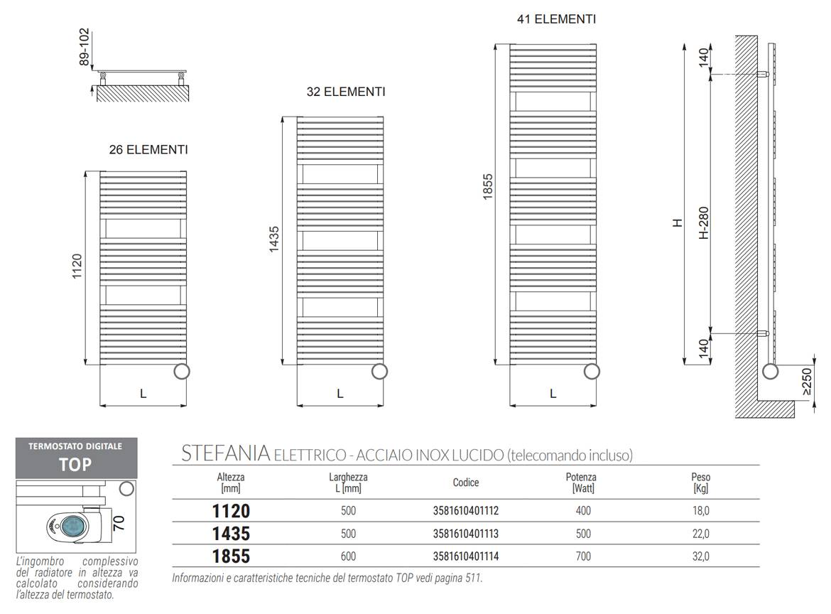 Sheet-Technical-Electric Heated Towel Rail-Stefania-inox-polished-Cordivari