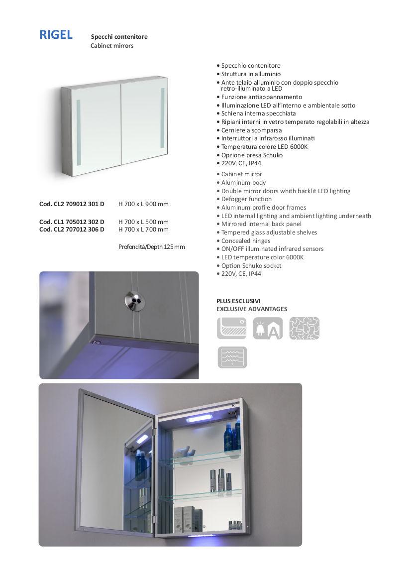 fiche technique miroir container salle de bain vanità e casa rigel