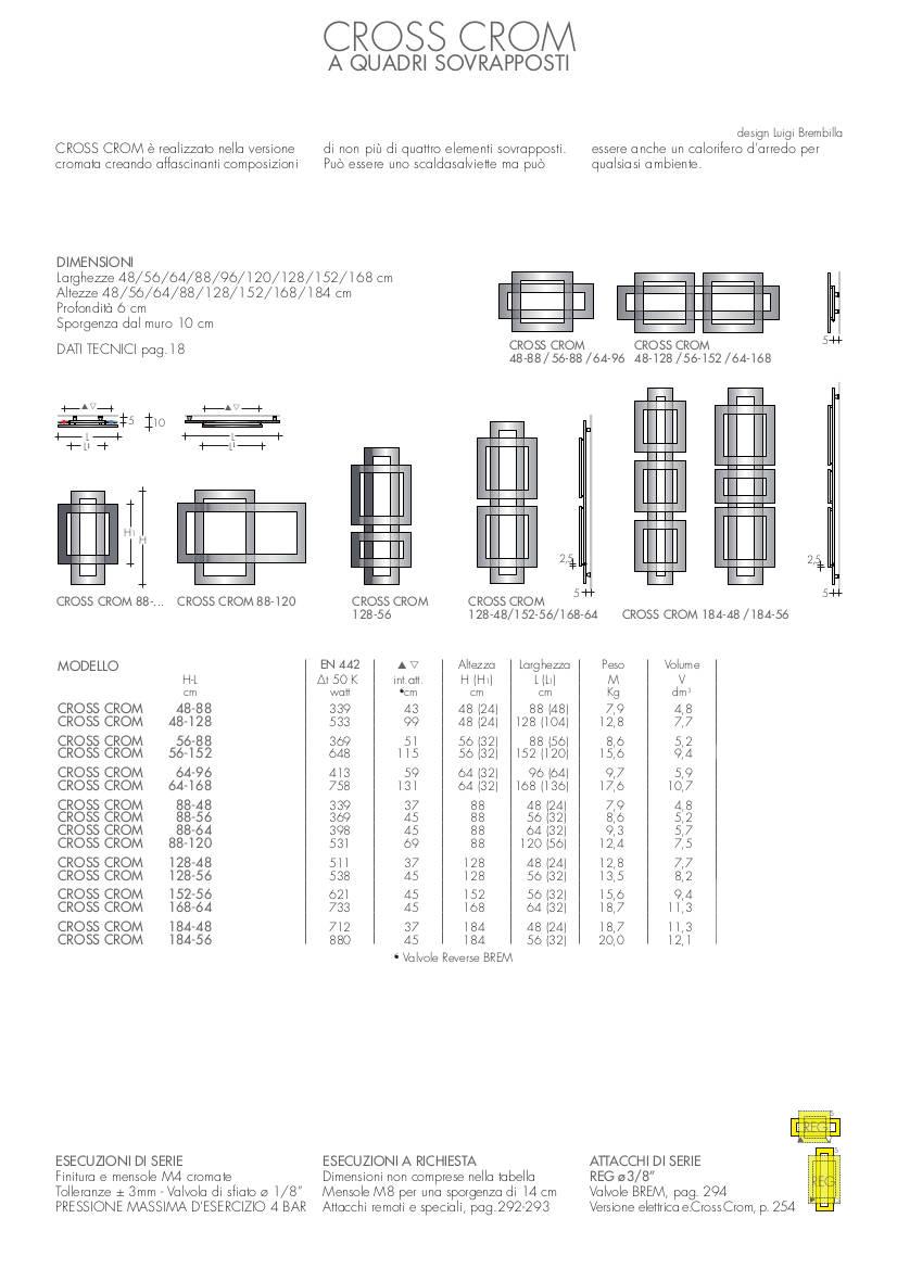fiche technique radiateur a carrés cross crom brem