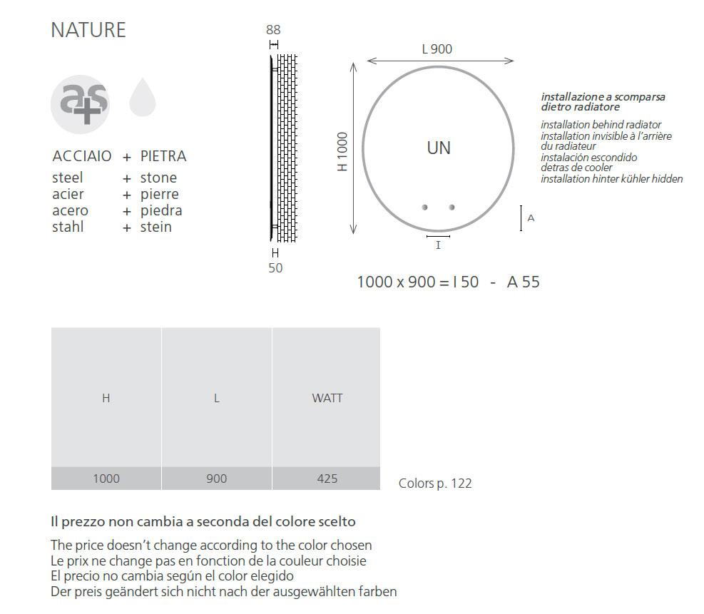 tab-technique-radiateur en pierre nature Graziano