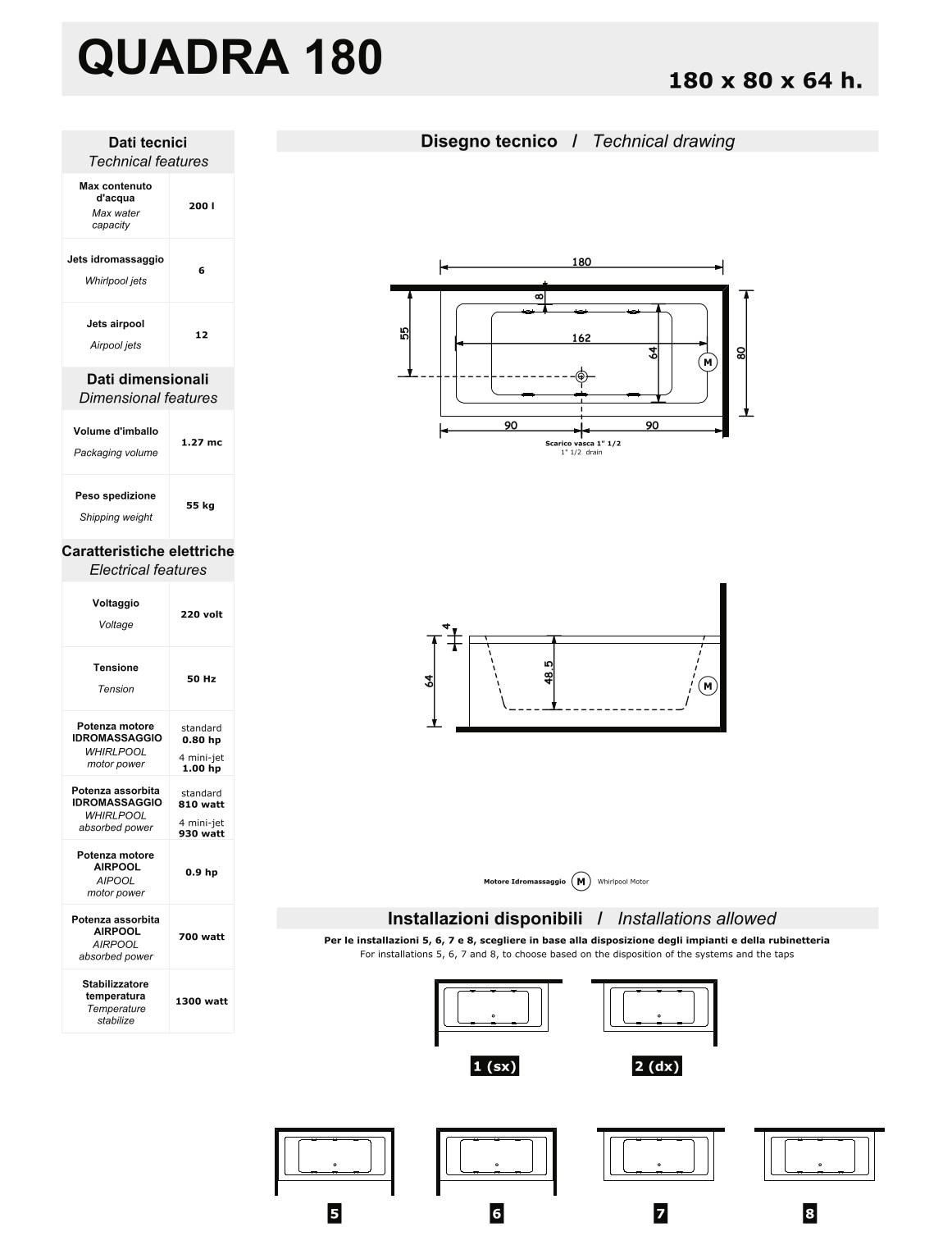data sheet bathtub quadra 180
