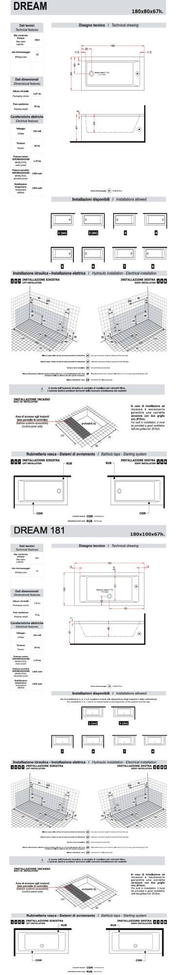 Sheet-Technical-bathtub-Treesse-Dream-180-181