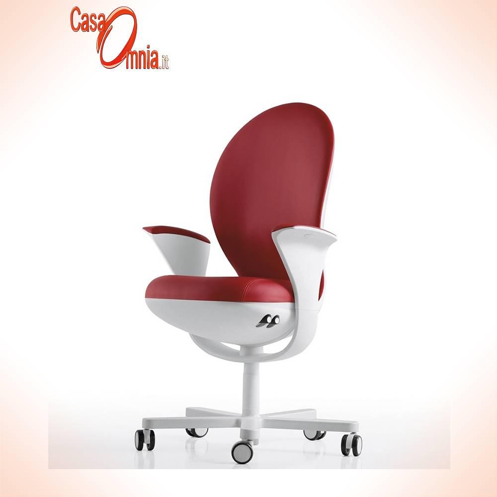 Siège-directionnel-luxy-series-bea-ergonomique-office-pivot-bras arrière réglables-blanc-tissu couleur rouge-design