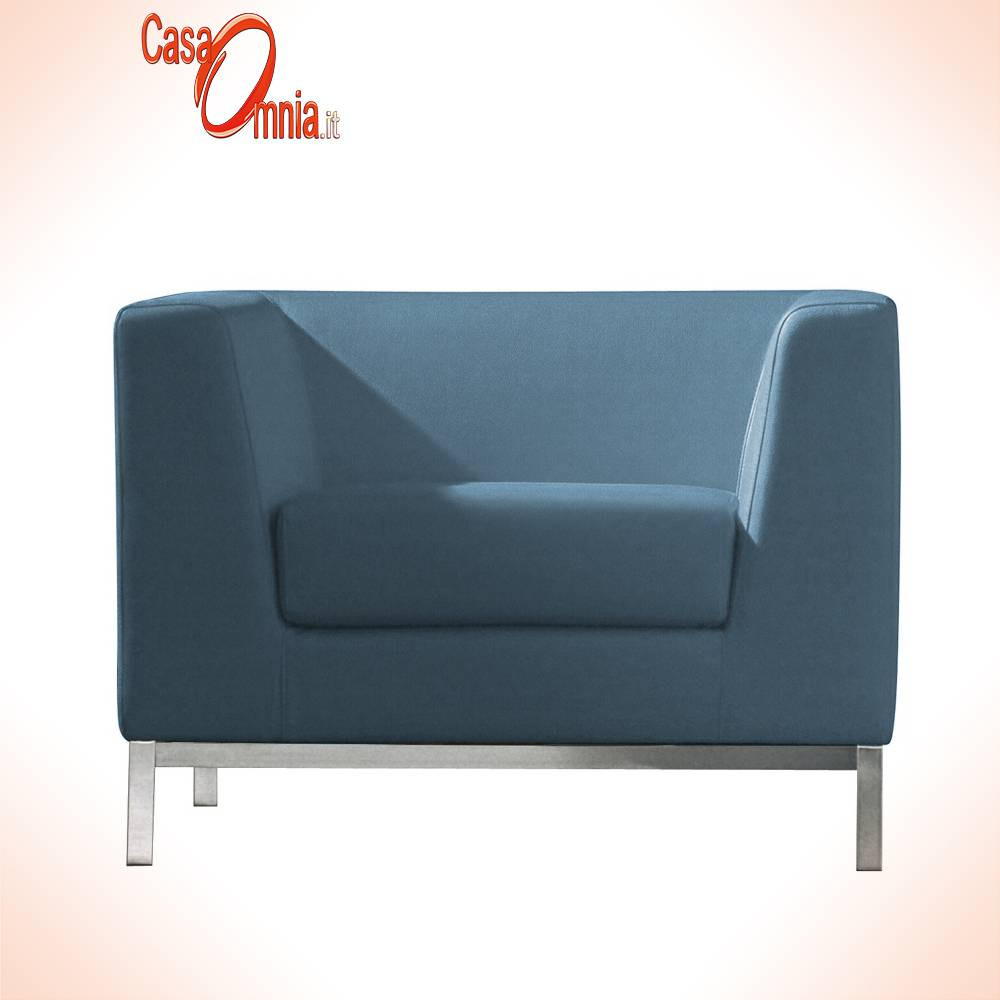 chaise-FAUTEUIL-cube à une place ergonomique fixe-bureau-attente-bleu-Luxy