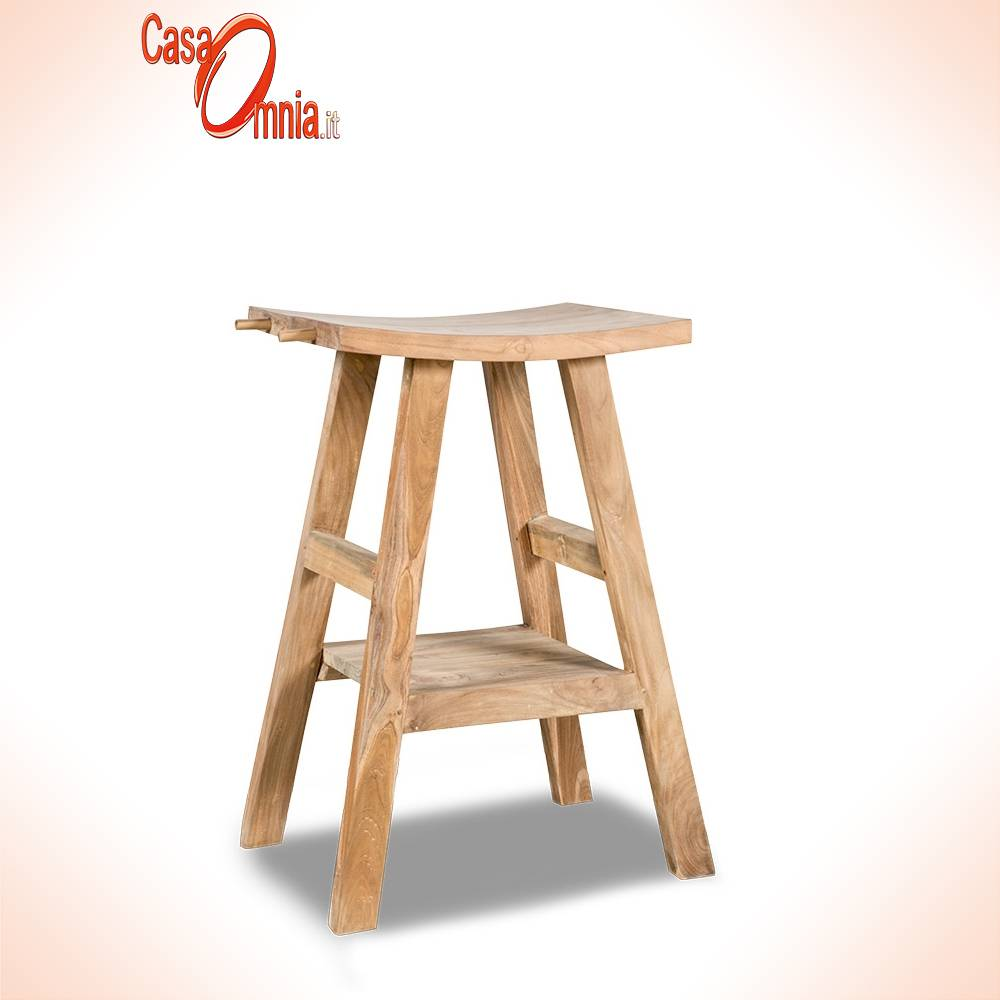tabouret-bois-teck-naturel-massel- non traité-légèrement-courbé-porte-serviettes-salle-de-bain-installation-évier-handmade-craft