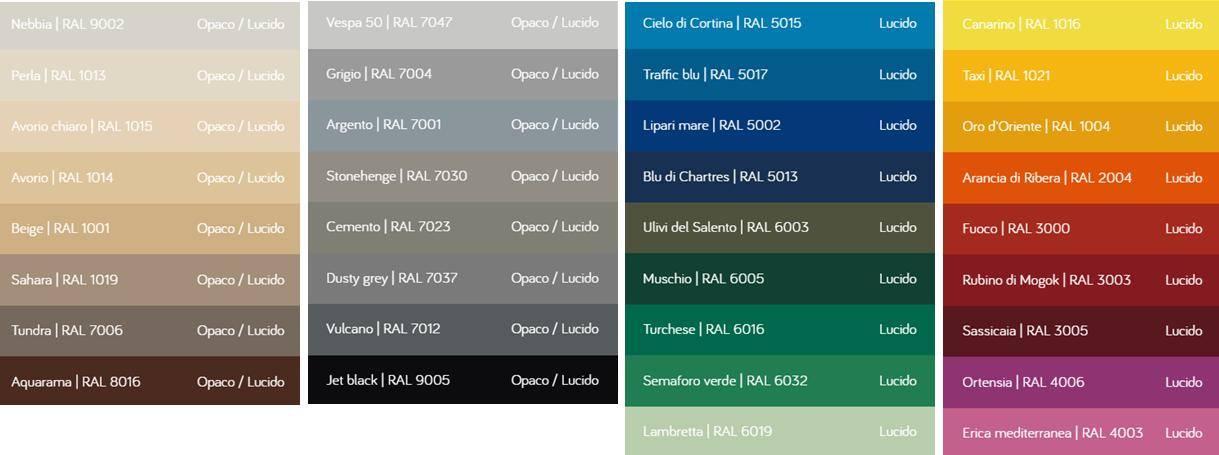 tabella colori RAL lazzarini