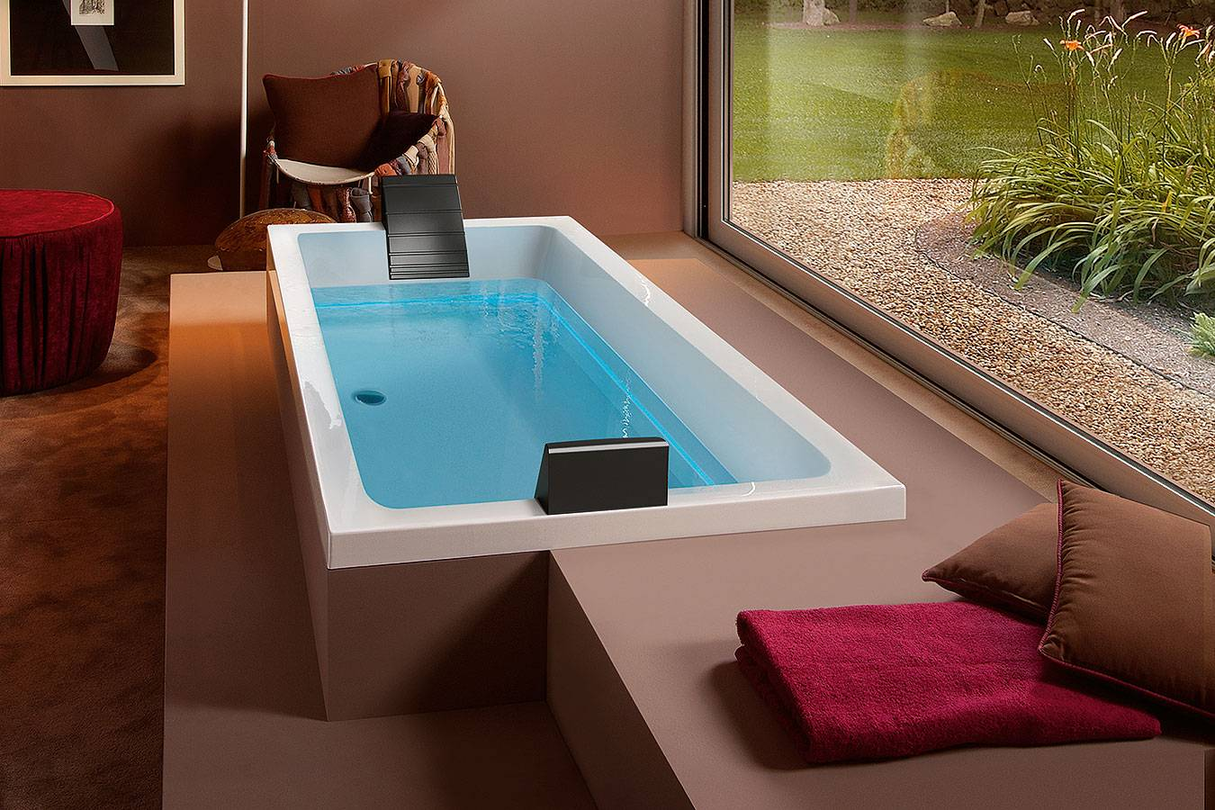 Bathtub rectangular whirlpool ghost system Dream 180 Treesse