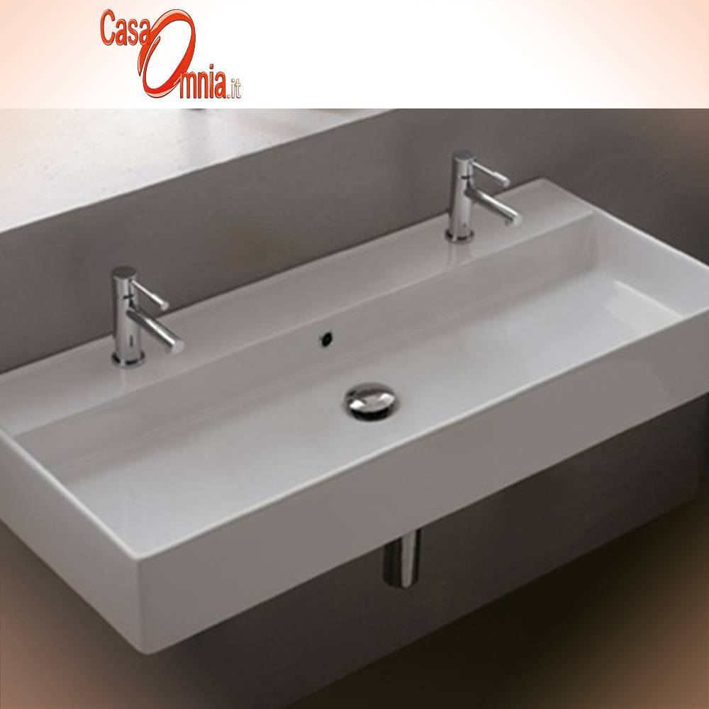 Lavello Bagno Da Appoggio lavabo con due fori rubinetto teorema - casaomnia