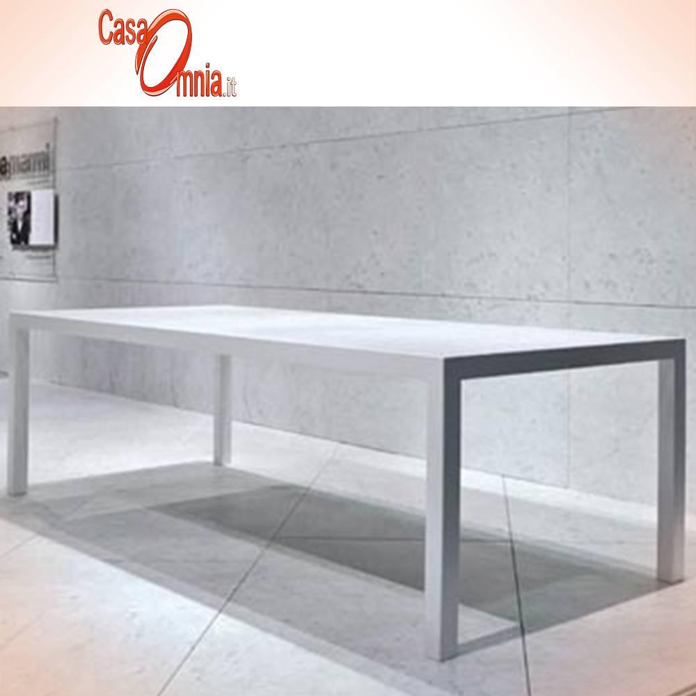 MARBLE TABLE - METAL STRUCTURE - PIBAMARMI TABLA BLANCA