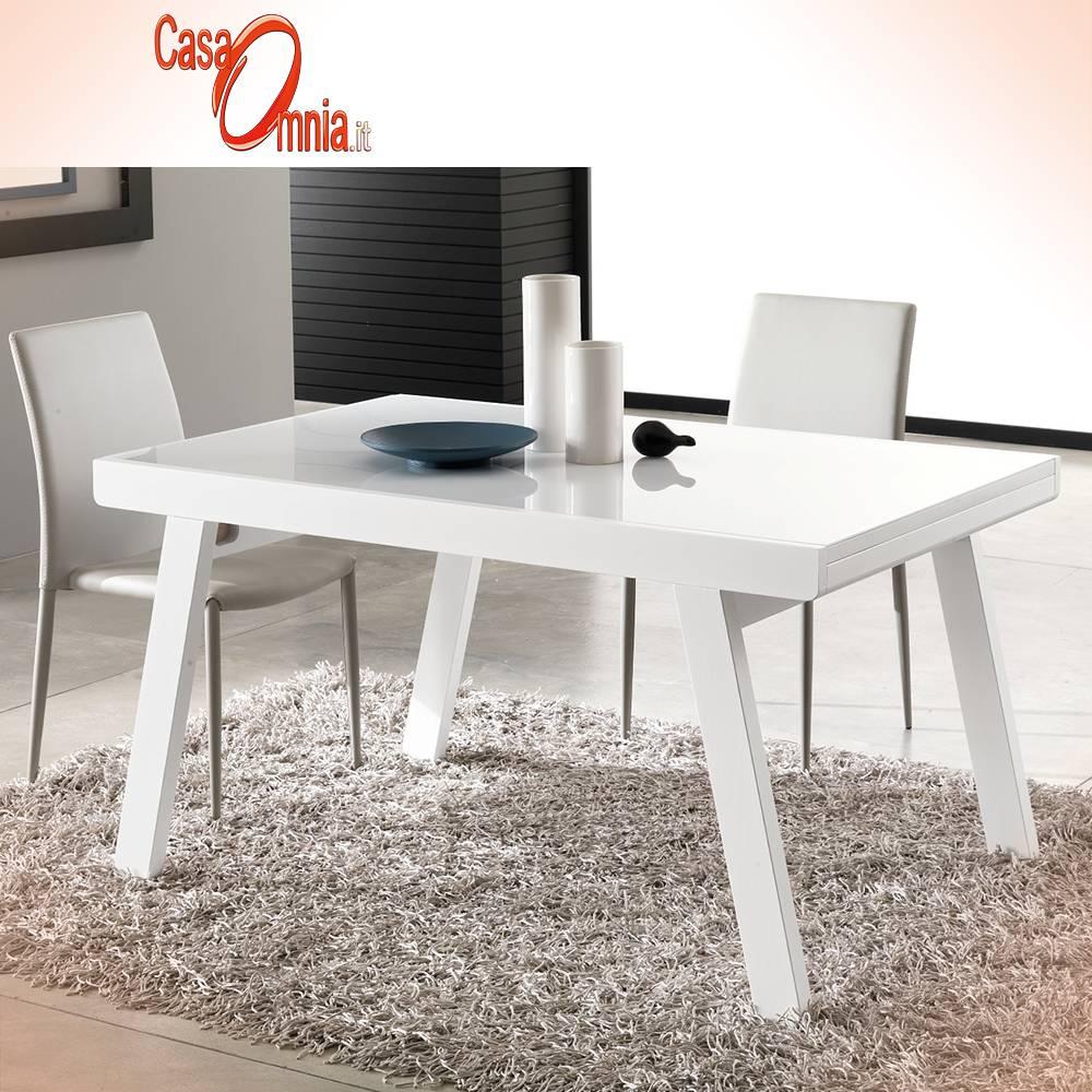 Tavolo Bianco In Legno tavolo da pranzo allungabile in legno e vetro - lucas