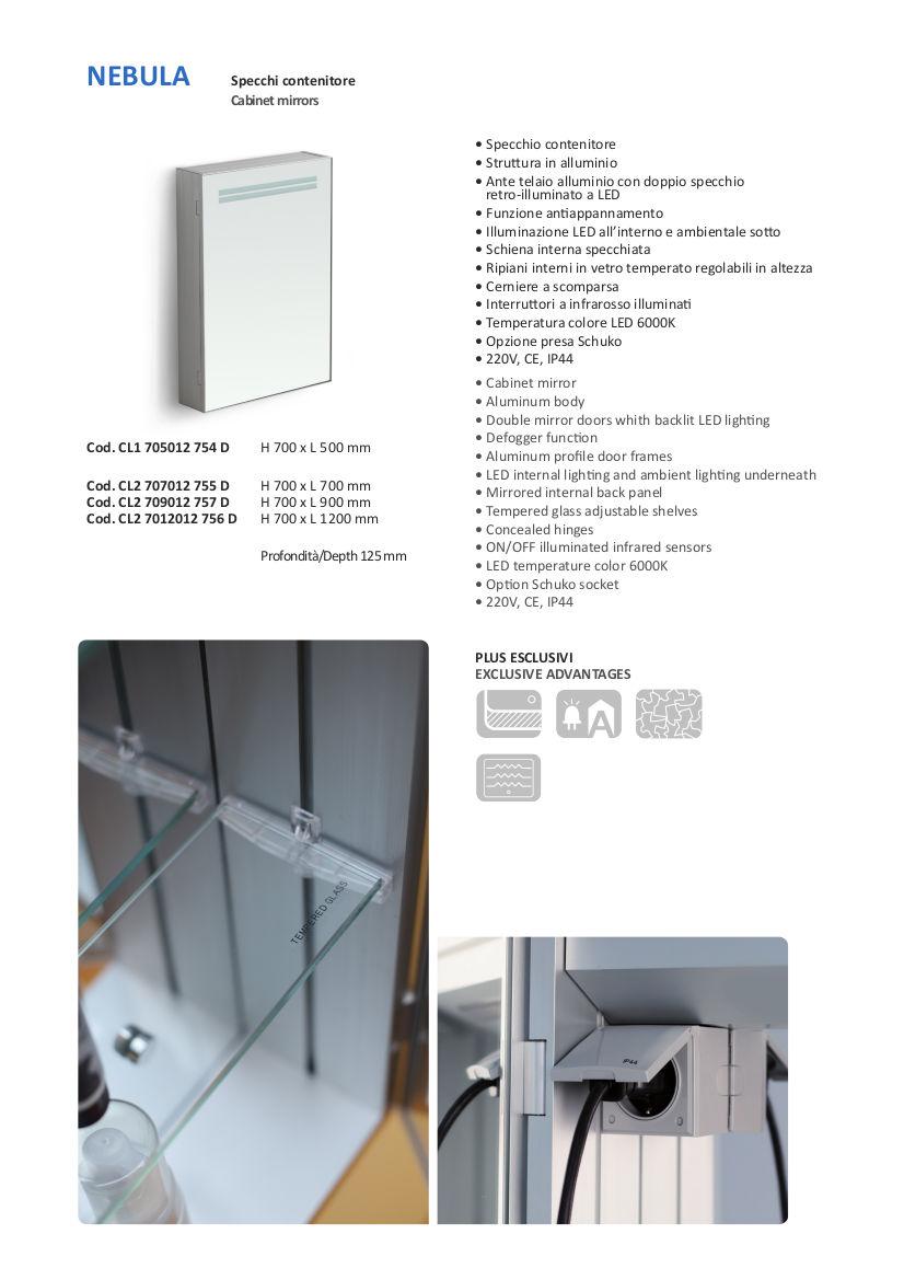 fiche technique miroir container salle de bain led vanità e casa nebula